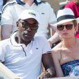 Lucien Jean-Baptiste et sa compagne Aurélie Nollet dans les tribunes lors des internationaux de tennis de Roland Garros à Paris, France, le 2 juin 2019. © Jacovides-Moreau/Bestimage