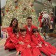 Lionel Messi, son épouse Antonela Roccuzzo et leurs trois fils en décembre 2020.