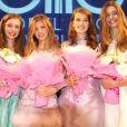 Les quatres finalistes du concours Elite Model Look 2009, le 18/10/09 en Chine. Julia Staner, Caterina Ravaglia, Emilie Smith et Manon Pieto.