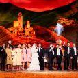 """La troupe des """"Enfoirés"""" sur scène pour le spectacle diffusé le 5 mars 2021 sur TF1 et tourné à la mi janvier à Lyon, exceptionnellement sans public, Covid-19 oblige."""