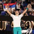 Novak Djokovic remporte l'Open d'Australie, en dominant, 7-5, 6-2, 6-2, le russe Daniil Medvedev en finale, à Melbourne, Australie, le 21 février 2021. © CSM/Zuma Press/Bestimage