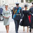 Kate Catherine Middleton, duchesse de Cambridge, le prince William, duc de Cambridge, Meghan Markle, duchesse de Sussex et le prince Harry, duc de Sussex - Arrivées de la famille royale d'Angleterre à l'abbaye de Westminster pour le centenaire de la RAF à Londres. Le 10 juillet 2018