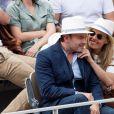 Clovis Cornillac et sa femme Lilou Fogli - Tribunes lors de la finale messieurs des internationaux de France de tennis de Roland Garros. Le 9 juin 2019. © Jacovides-Moreau/Bestimage