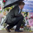 Le prince Harry en visite au Sunken Garden dédié à la mémoire de Lady Diana à Londres.