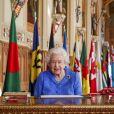 La reine Elisabeth II préside la journée du Commonwealth au chateau Windsor, Royaume Uni, le 6 mars 2021.
