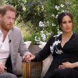 Le prince Harry et Meghan Markle lors de leur interview télé avec Oprah Winfrey, diffusée le 7 mars 2021 sur CBS.