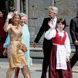 La princesse Martha Louise, son mari Ari Behn et leurs filles Maud Angelica Behn, Leah Isadora Behn et Emma Tallulah Behn, la princesse Astrid - La famille royale de Norvège lors du jubilé des 25 ans de règne du roi Harald de Norvège à Trondheim, le 23 juin 2016.