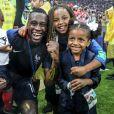 Blaise Matuidi et ses enfants Eden, Myliane et Naëlle à l'issue de la finale de la Coupe du Monde de Football 2018 en Russie. Moscou, le 15 juillet 2018 © Moreau-Perusseau / Bestimage