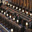La reine Elisabeth II d'Angleterre, Le prince Andrew, duc d'York, La princesse Anne, Sir Timothy Laurence et Le prince Harry, duc de Sussex, - Funérailles du prince Philip, duc d'Edimbourg à la chapelle Saint-Georges du château de Windsor, Royaume Uni, le 17 avril 2021.