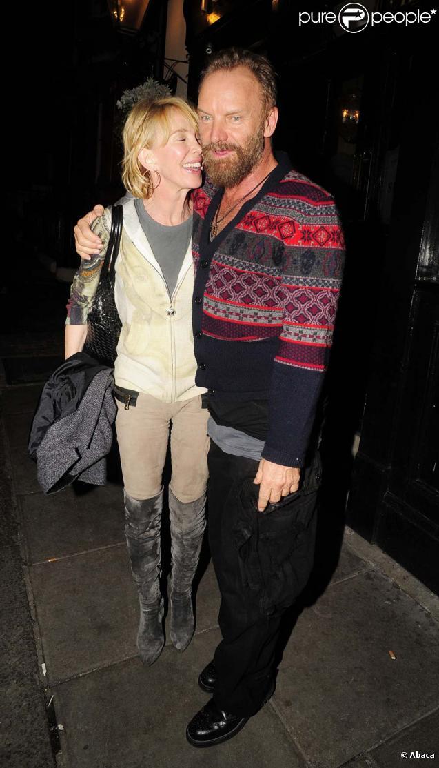 Sting et Trudie Styler sortie entre amis, le 3 novembre à 2009 à Londres.