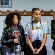 Brigitte Macron et les candidates de The Voice Kids 2020 Sara et Rania - La Première Dame Brigitte Macron (présidente de la Fondation des hôpitaux de France) visite la maison des adolescents du Loir-et-Cher, située rue des écoles, à Blois, France, le 3 février 2021. La structure a bénéficié, lors de sa création, d'une aide financière de l'opération Pièces jaunes. © Cyril Moreau/Bestimage