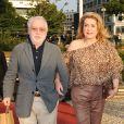 Jean-Yves Bouvier et Catherine Deneuve à l'anniversaire de Johnny à Paris.