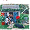 La carte de voeux 2020 du prince Harry avec Meghan Markle, Archie et leurs deux chiens, prise par Doria Ragland, dans leur jardin de Montecito, décembre 2020.