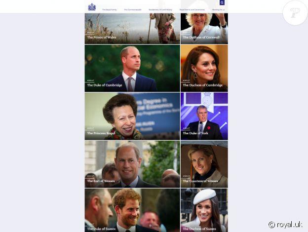 La liste des membres actifs de la famille royale britannique sur le site www.royal.uk, mis à jour en juin 2021.