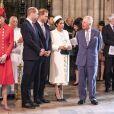 Catherine Kate Middleton, duchesse de Cambridge, le prince William, duc de Cambridge, le prince Harry, duc de Sussex, Meghan Markle, enceinte, duchesse de Sussex, le prince Charles, prince de Galles lors de la messe en l'honneur de la journée du Commonwealth à l'abbaye de Westminster à Londres le 11 mars 2019.