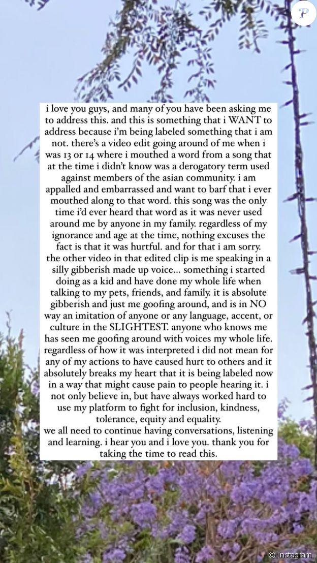 Billie Eilish s'est excusée auprès de son public dans un long message, partagée lundi 21 juin, dans sa story Instagram.