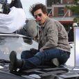 Tom Cruise lors du tournage de  Knight and Day , à Boston, au début du mois de novembre 2009.