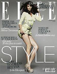 Helena Christensen en couverture du  Elle  UK pour le mois de janvier prochain