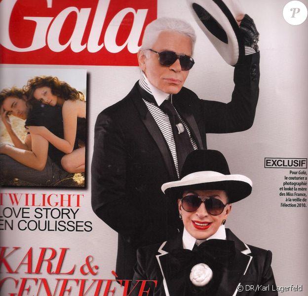 La couverture de Gala avec Karl Lagerfeld et Geneviève de Fontenay