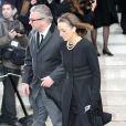Le Prince Laurent de Belgique et sa femme la Princesse Claire aux obsèques du Prince Alexandre de Belgique