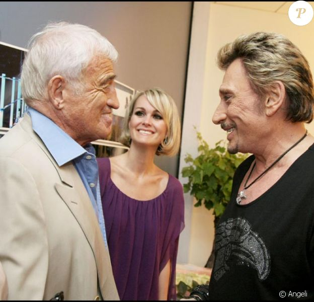 Jean-Paul Belmondo avec Johnny Hallyday et Laeticia au Stade de France en  mai 2009
