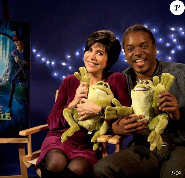 Les stars du film en séance d'enregistrement du doublage de La princesse et la grenouille.