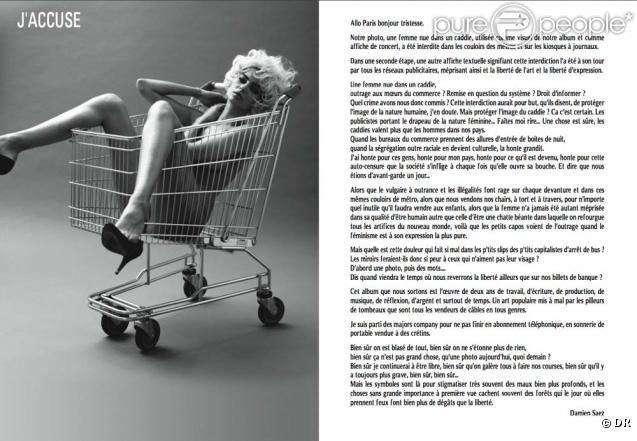 Damien Saez. Nouvel album  J'accuse , disponible le 29 mars 2010 !