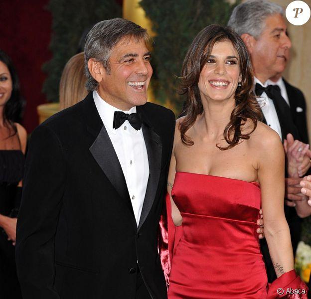 George Clooney et la belle Elisabetta Canalis, à l'occasion du tapis rouge de la 82e cérémonie des Oscars, au Kodak Theatre de Los Angeles, le 7 mars 2010.