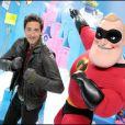 Adrien Brody a eu l'immense privilège de rencontrer Monsieur  Indestructible, star des Studios Pixar à Euro Disney le 27 mars 2010