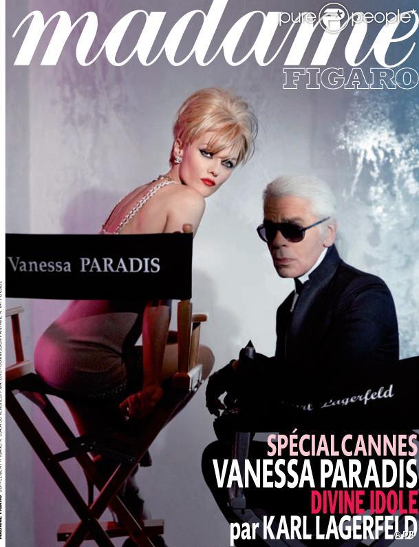 Couverture de Madame Figaro du 7 mai 2010 avec Vanessa Paradis et Karl Lagerfeld