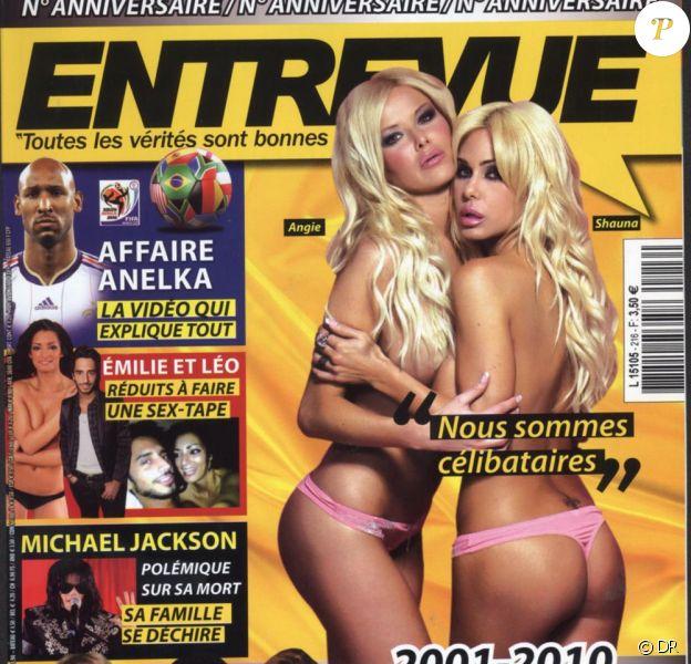 Angie et Shauna, les deux blondes sulfureuses qui se sont partagées un homme (Romain Chavent), posent en couverture d'Entrevue