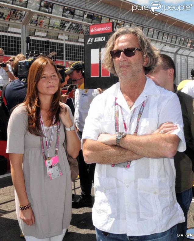 Eric Clapton et Melia au Grand Prix de Silverstone, le 11 juillet 2010