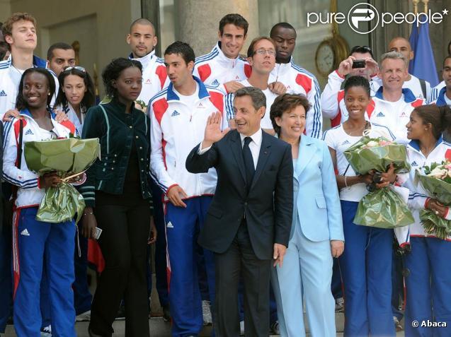Nicolas Sarkozy, Roselyne Bachelot et Rama Yade ont reçu l'équipe de France d'athlétisme à l'Elysée, à Paris, le 3 août 2010.