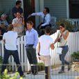 Matthew McConaughey et Ryan Phillippe sur le tournage de The Lincoln Lawyer à Los Angeles, le 13 août 2010