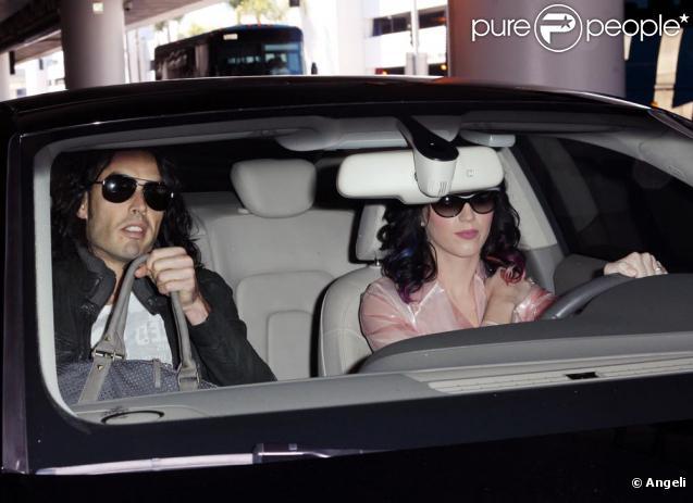 Katy Perry et Russel Brand à l'aéroport de Los Angeles
