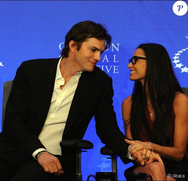 Demi Moore et Ashton Kutcher lors du meeting annuel du Clinton Global Intiative à New York le 23 septembre 2010