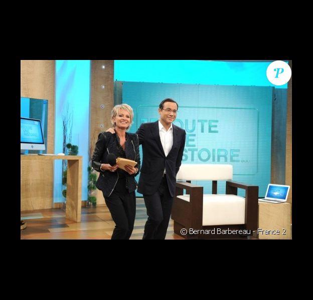 Sophie Davant aux commandes de Toute une histoire, sur France 2. Enregistrement de l'émission, le 21/09/2010