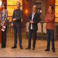 Carole Rousseau au coté de Sébastien Demorand, Frédéric Anton et Yves Camdeborde dans Masterchef