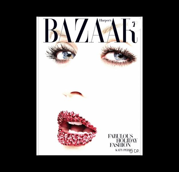 Katy Perry sur la couverture de Harper's Bazaar avec une bouche lumineuse en cristaux de Swarovski