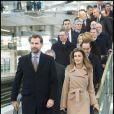 Letizia et Felipe d'Espagne lors de l'inauguration du train à grande vitesse à madrid, le 15 décembre 2010.