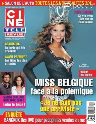 Miss Belgique 2011, Justine de Jonckheere, en couverture de Ciné Télé Revue