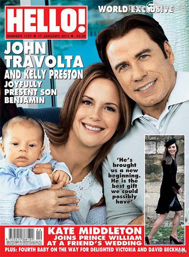 John Travolta et Kelly Preston présentent leur fils Benjamin dans Hello ! du 17 janvier 2011