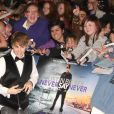 Justin Bieber à l'avant-première de Never say never, à Londres le 16 février 2011