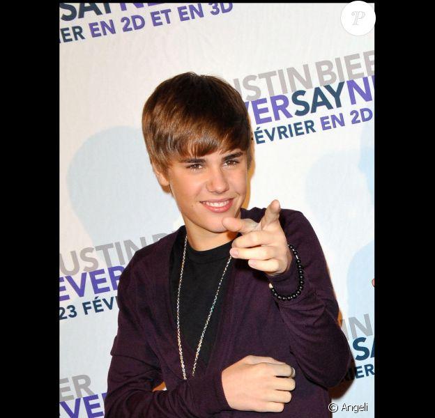 Justin Bieber à la première de son film Never Say Never, présenté au Grand Rex, à Paris, le 17 février 2011.