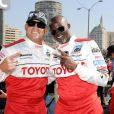Tito Ortiz et Djimon Hounsou lors de la course Toyota des célébrités, à Long Beach le 5 avril 2011