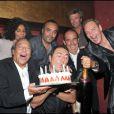 C'est la fête pour Philippe Caroit, Tony Gomez et Fabien Onteniente lors de la soirée d'inauguration de la nouvelle compilation du Buddha Bar à Paris le 28 avril 2011