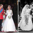A 30 ans d'intervalle, rapprochements visuels entre deux mariages fondamentalement différents... et connectés par la regrettée princesse Diana. Des marches de la cathédrale Saint-Paul (juillet 1981 - à droite) à celles de l'abbaye de Westminster (avril 2011).