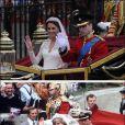 A 30 ans d'intervalle, rapprochements visuels entre deux mariages fondamentalement différents... et connectés par la regrettée princesse Diana. En juillet 1981, elle épousait le prince Charles en la cathédrale Saint-Paul. Le 29 avril 2011, William, le fruit de leur mariage, passait l'alliance au doigt de Catherine Middleton... Point commun : tous les quatre ont emprunté le State Landau découvert de 1902 au sortir de la cérémonie.