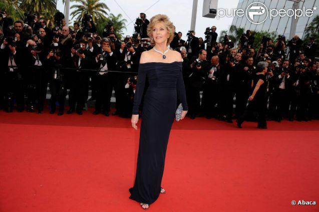 C'est une Jane Fonda sublime que l'on découvre sur le tapis rouge cannois pour l'avant-première de Pirates des Caraïbes 4. Cannes, 14 mai 2011