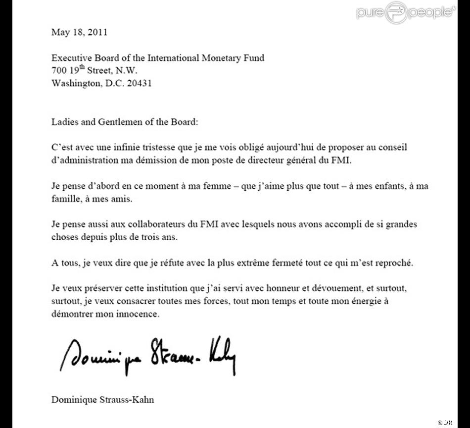 Lettre De Demission: Lettre De Démission Du Fonds Monétaire International De